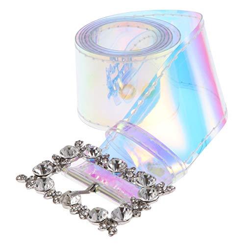 PRETYZOOM Vrouwen Transparante Riem Tule Riem Holografische Duidelijke Riem Voor Strass Tailleband Voor Jeans Broek Jurken (Laser Kleur)