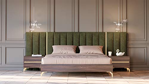 Limari Home Abigail Collection Modern Style Bedroom Matte Laminate Finished Italian Bed With Velvet Upholstered Headboard & Nightstands With Metal Accents & Legs, Queen, Walnut, Green & Gold