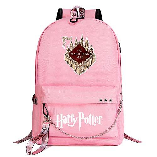 Mochila de Ocio Hogwarts Girl, Mochila Rosa Harry Potter, con Mochila de Interfaz de Carga USB Style-2