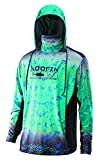 Performance Fishing Hoodie with Face Mask Sunblock Shirt Hooded Long Sleeve with Drawstrings Pocket,Green, Medium