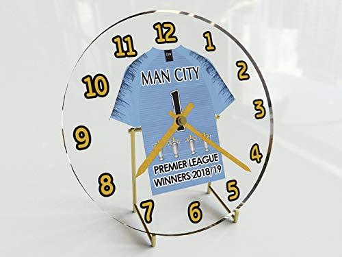 MYSHIRT123Manchester City Premier League Champions 2017/18–commemorative desktop Clock–Nuovo acrilico camicia design.