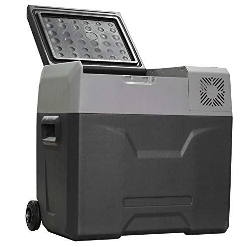 HOMCOM 50L Nevera Portátil Eléctrica con Compresor Mini Refrigerador de Coche con Pantalla Táctil Ruedas y Asa 12/24V CC o 110V-240V CA para Hogar 58,6x37,8x54,5 cm Gris