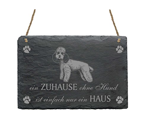 Schiefertafel PUDEL « EIN ZUHAUSE OHNE HUND IST EINFACH NUR EIN HAUS » mit MOTIV 2 Slate Sign Hund