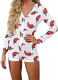 Loalirando - Pijama corto para mujer con cuello en V y manga larga - Pijama sexy de una pieza Blanc 2 L