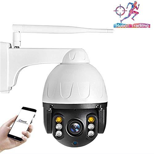 Cámara de seguridad Wi-Fi, cámara IP 1080P Seguimiento automático de Onvif mini cámara impermeable bóveda de la velocidad de la cámara de 2MP IR P2P de seguridad CCTV con audio bidireccional, visión n