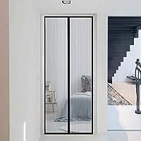 網戸 玄関 95x215cm 涼しい夏 マグネット式網戸 自動開閉式 ドア/窓に適しています, 黑