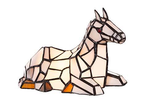 Lampe im Tiffany-Stil Figurenlampe Katze, Fisch, Pferd Schmetterling Dekorationslampe, Tiffany Stil, Glaslampe, Leuchte,Tischlampe, Tischleuchte (Pferde-Motiv)