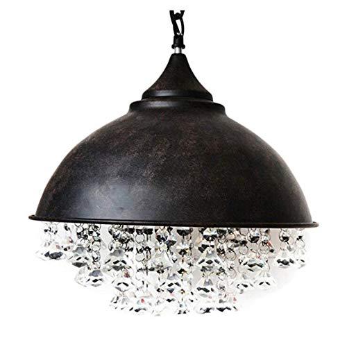 HSCW American Style Vintage Crystal Pendant Light Industrial Metallo Creativo Iron Paralume Battuto Lampadario E27 Lampada a sospensione base Lampada Loft Bar Cucina illuminazione lumuolare