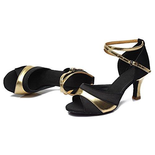 HROYL Damen Tanzschuhe/Latin Dance Schuhe Satin Ballsaal Modell-D7-806 Gold 36 EU - 9