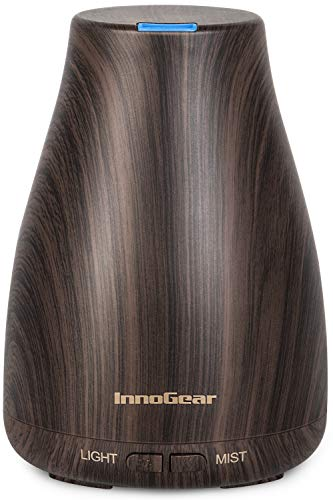InnoGear Essential Oil Diffuser, Upgraded Diffusers for Essential Oils Aromatherapy Diffuser Cool Mist Humidifier with 7 Colors Lights 2 Mist Mode Waterless Auto Off for Home Office Room, Brown