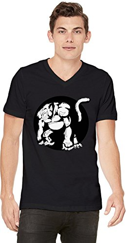 Angry Oozaru Black And White Illustration T-shirt col V pour hommes Small
