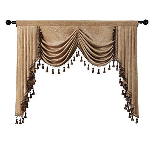 Thick Chenille Curtains Valance for Living Room Waterfall Valance for Bedroom, Rod Pocket (Coffee, W59 Inch, 1 Panel)