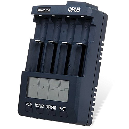 AKDSteel Opus BT-C3100 LCD Panel Display Ni-MH AA & AAA,Battery Charger with 4 Individual Slots with Charge Discharge Refresh and Test, Over-Heating Protector, Ameraican Plug Adapter for Accessories