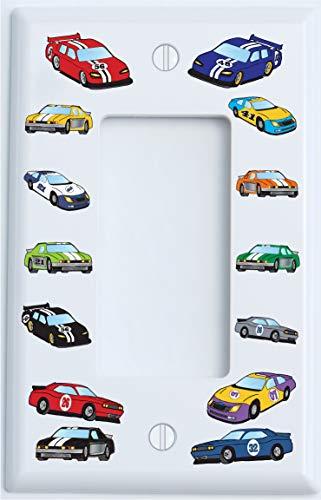 Stock Race Car Single Rocker Light Switch Plate Covers Or GFCI Dimmer/Race Car Room Decor (Single Rocker)