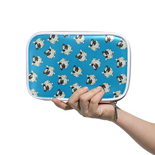 Trousse à maquillage carlin bleu grande capacité organiseur de maquillage pochette pochette pour voyage scolaire