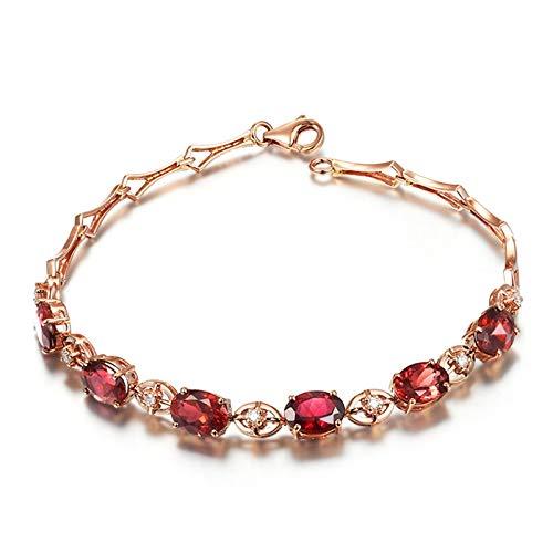 AnazoZ 18K Oro Rosa Pulsera Mujer Oro Rosa Pulsera Mujer Oval Turmalina Roja Blanca 4.39ct