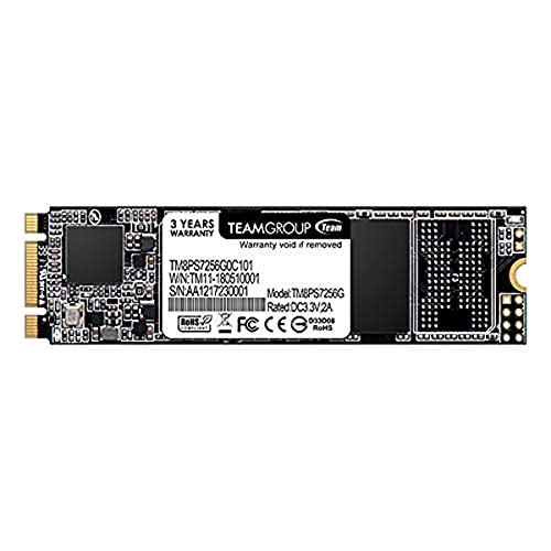 TEAMGROUP MS30 256GB with SLC Cache 3D NAND TLC M.2 2280 SATA III 6Gb/s Internal Solid State Drive SSD (Read/Write Speed up to 500/400 MB/s) Compatible with Laptop & PC Desktop TM8PS7256G0C101