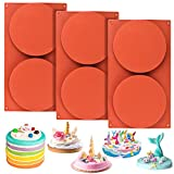 Palksky 3 Pcs 2-Cavity Round Silicone Rainbow Cake Mold, 5.5 Inch Circle Disc Resin Coaster Mold,...