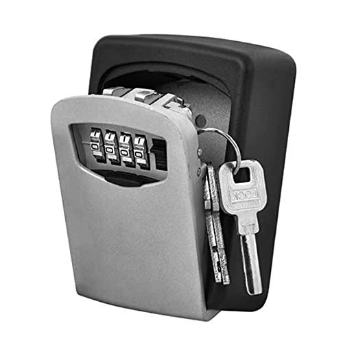 Caja fuerte para llaves con código numérico de 4 dígitos, montaje en pared, mini caja de seguridad exterior, resistente al agua, inoxidable, para casa, garaje, escuela, repuesto para llaves (gris)