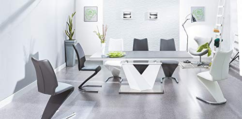 Alaras II Black Glass and White High Gloss Modern Extendable Dining Table (120 (180) x 80 cm)