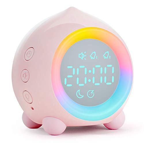 tronisky Kinderwecker Digitaler, Sonnenaufgangssimulator Kinder Wecker mit Buntes LED-Licht, Wake Up Lichtwecker & Nachttischlampe für Jungen Mädchen, Temperatur/Datum/Countdown Funktion - Rosa