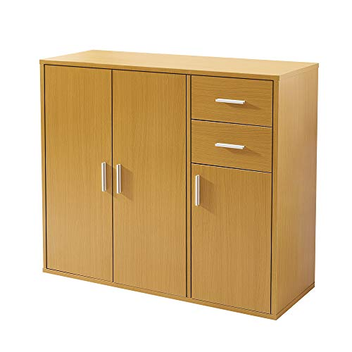 Panana Sideboard Storage Cupboard Cabinet Unit with Doors and Drawers Living Room Bedroom Furniture Beech