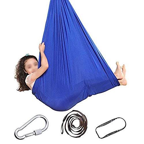 WCX Columpio Swing 150 Cm/ 100Cm Hamacas De Columpio De Interior Silla Colgante Asiento Ajustable Aéreo Volando Yoga Hamaca Hamaca Sensorial (Color : Blue, Size : 100 * 280CM/39 * 110in)