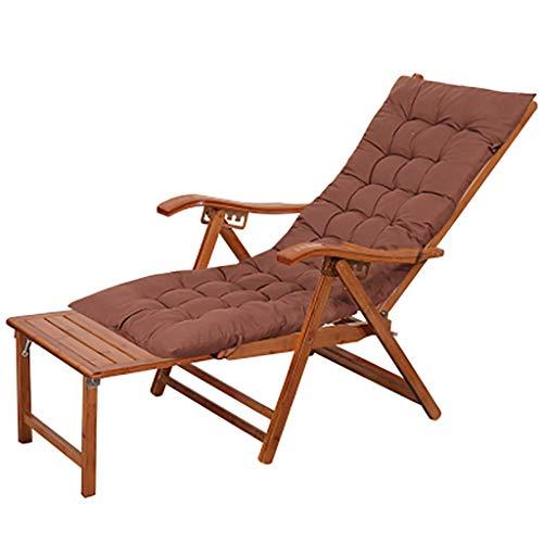 Chaise longue Sillón de bambú Silla de jardín Sillón de jardín Sillón de jardín de madera al aire libre Sillón reclinable reclinable ajustable para el patio de la playa Tumbona de bambú con reposapi
