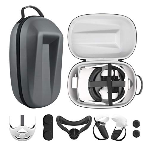 Esimen Travel Case for Oculus Quest 2 Halo Strap Face Mask Touch Controllers Accessories,Includes Multiple Oculus Quest 2 Accessories (Gray)