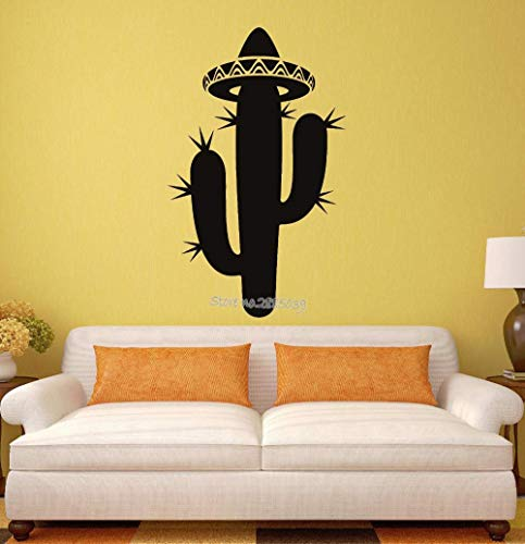 Nieuwe Stijl Hoed Muursticker Cactus Sombrero Mexico Latijns-Amerika Reizen Vinyl Muurstickers Home Decor Woonkamer Art Mural L 42X68Cm