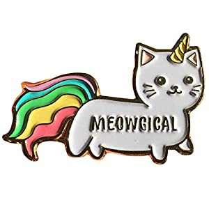"""Stickeroonie Cute Rainbow Meowgical Caticorn Lapel Pin, Colorful Magical Cat Unicorn Gold Plated Decorative Pin, 1.4"""""""