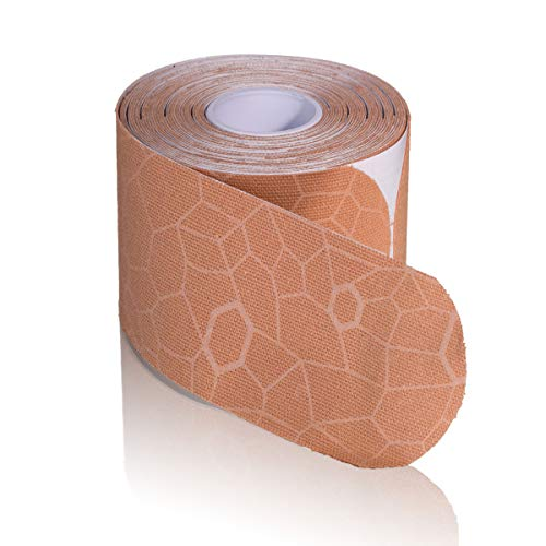 "TheraBand Kinesiology Tape, Waterproof Physio Tape for Pain Relief, Muscle & Joint Support, Standard Roll with XactStretch Application Indicators, 2"" X 10"" Strips, 20 Precut Strips, Beige/Beige"