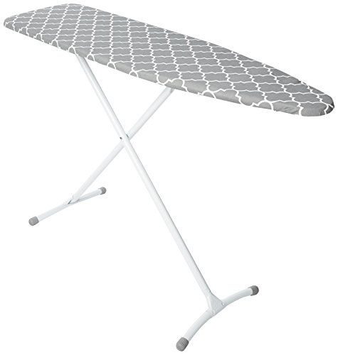 HOMZ Steel Ironing Board Contour Grey & White Cover, Grey Lattice, 53 x 35 x 13 inches