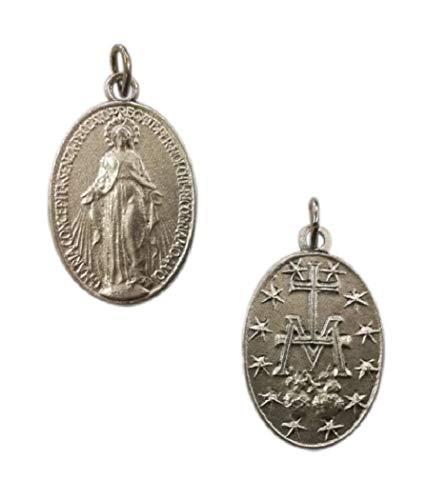 """Medalla milagrosa original con oración en italiano: """"O María concebida sin pecado, rogamos por nosotros que recurrimos a usted"""" – H 2 cm – 10 medallas bañadas en plata"""