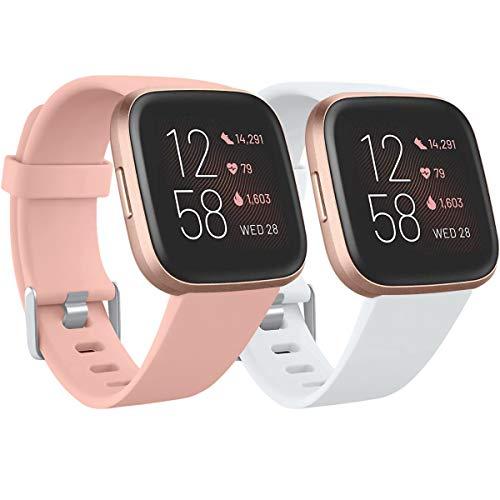 Ouwegaga Bracelet Compatible avec Fitbit Versa Bracelet/Fitbit Versa 2 Bracelet, Bande de Remplacement en Silicone Compatibles avec Fitbit Versa/Versa Lite, Femme Homme Petit Rose/Blanc