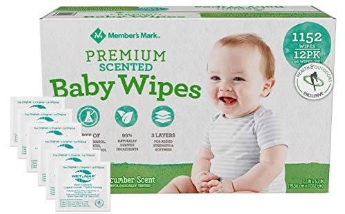 HAO M Mark Premium Green Tea & Cucumber Scented Baby Wipes (1152 Count) W/Moist Towelettes