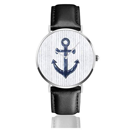 Reloj de Pulsera, Ancla rústica en Azul Marino Correa de Cuero PU Relojes Reloj clásico Informal de Cuarzo de Acero Inoxidable