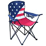 Folding Portable Camping Chair, Drink Cup Holder, Carry Bag, 225lbs, Padded Arm Rests, Phone Pouch, Bottle Opener, Patriotic USA Flag