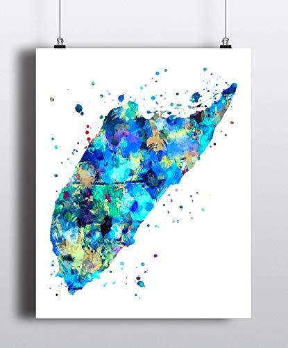 Cozumel Map Art Print, Poster, Unframed