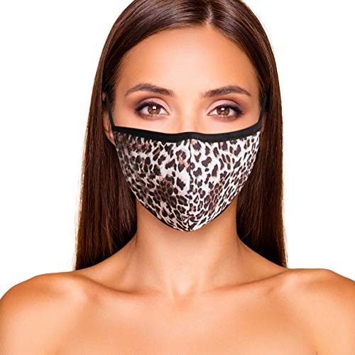 Cloth Face Mask Washable with Filter Pocket - Cotton Blend USA Made (Leopard)
