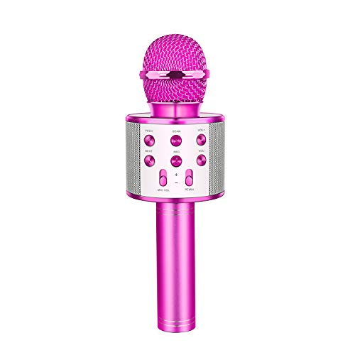 LET'S GO! Toys for 5-12 Year Old Boys Girls, Wireless Bluetooth Karaoke Microphone with Controllable Led Lights Gifts for 6-12 Year Old Boys Girls Teen Purple DMHK20