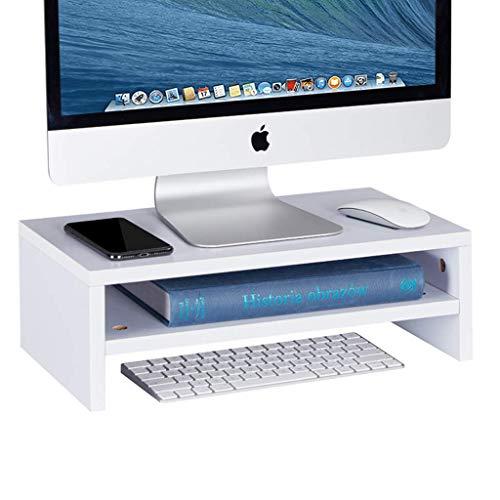 Sunon Monitorständer Bildschirmständer Monitorerhöhung aus Holz Laptopständer mit 2 Fächern 54 x 23,5 x 18cm für PC Monitor, Bildschirm, Laptop, Fernsehen,Fax (Weiß)