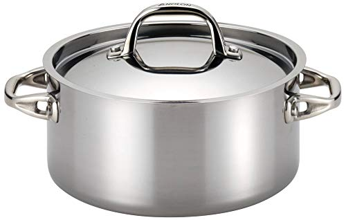 Anolon 30824 Tri-Ply Onyx Dutch Oven, 5 Quart, Stainless Steel