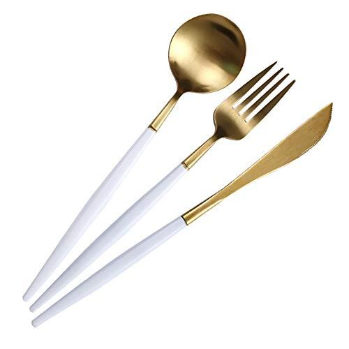 Coma un cuchillo de carne tenedor conjunto de platos tenedor europeo vajilla cuchara cuchara cuchillo de oro blanco tenedor de tres piezas