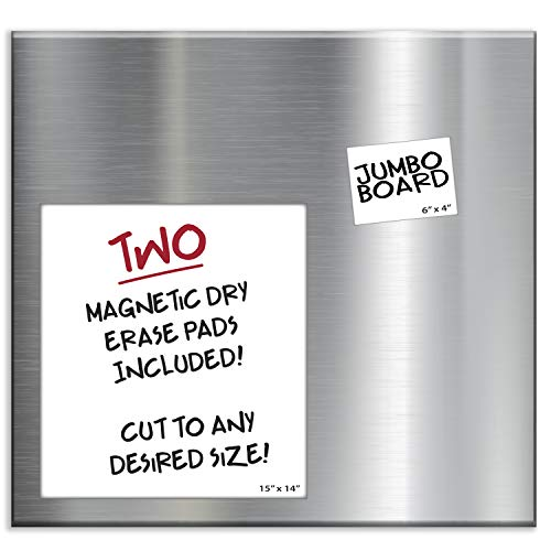 Essentially Yours Extra Large 30 x 28 x 0.7 Inch Magnet and Message Board | Mountable Steel Bulletin Board, 2 Magnetic Dry Erase Pads Included (Silver)