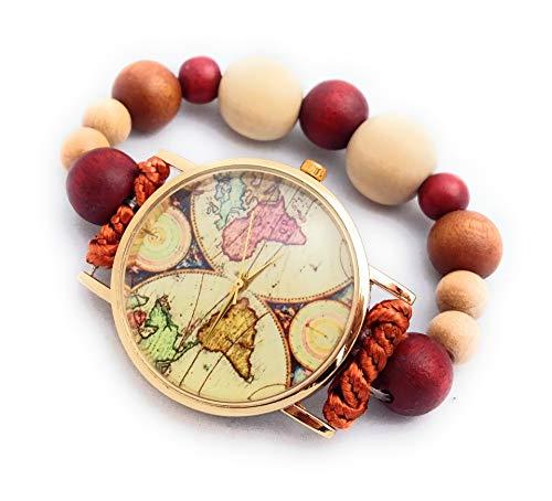 Orologio da Polso Elastico Donna Mappamondo Bracciale con Perle di Legno Regalo Elegante per Lei