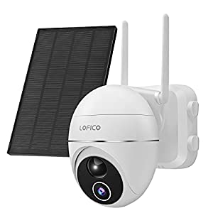 Security Camera with Solar Panel, LOFICO 1080P Outdoor Wireless PTZ CCTV Camera, Surveillance WiFi Camera for Home Security with 2-Way Audio, PIR Motion Detection, IP65 Waterproof, Night Vision