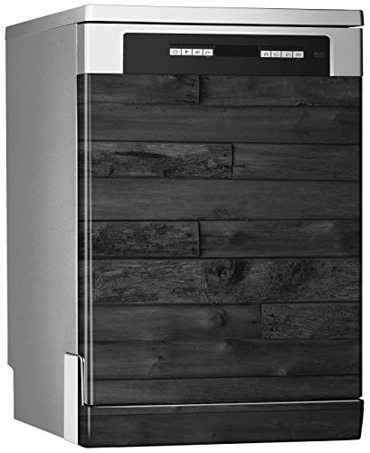 Megadecor decoratieve vinyl voor vaatwasser, afmetingen standaard 67 cm x 76 cm, onregelmatige houten planken, zwart