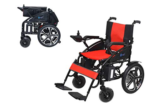 New Cromex Powerful Heavy-Duty Dual Motor Foldable Electric Wheelchair - Electric Powered Lightweight Wheelchairs - Foldable Multi-Terrain Safe and Smooth Aviation Travel Electric Wheelchairs (Red)