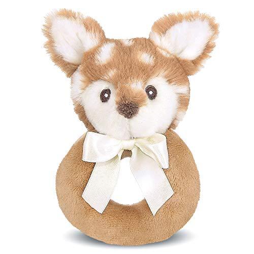 Bearington Baby Lil' Willow Plush Stuffed Animal Fawn Soft Ring Rattle, 5.5 inch